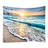 Sea Water Dusk Beach Sunset Print Decorative Throw Fabric Tapestry Wall Hanging Art Decor for Living Room and Bedroom (78x59 Inches)