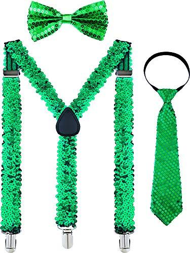 Chuangdi Y Back Suspender, Adjustable Pre-tied Bowtie, Green Shamrock Necktie for Men Women St. Patricks Day Accessories, 3 Pieces (Sequin)