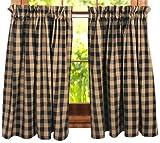 Black Teadyed Buffalo Check Curtain Tier | Window Curtain | Kitchen Curtain