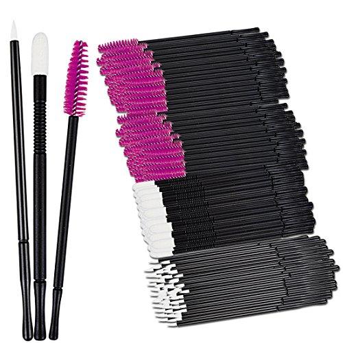 Jaciya 200 Pack Disposable Mascara Brushes Lip Brushes Eyeliner Brushes Makeup Brush Applicator Sets by Jaciya