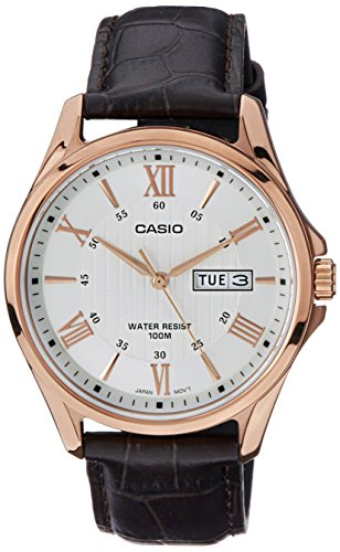 Casio MTP1384L 7AV Leather Roman Silver