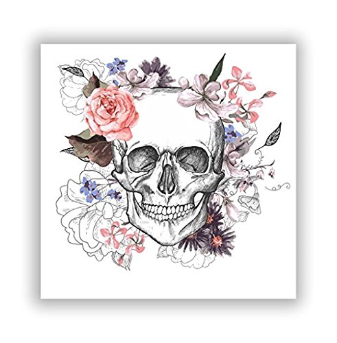 Skull with Flowers Vinyl Stickers Scary Horror Halloween Creepy - Sticker Graphic - Sticks to Any Smooth Surface - Cars, Walls, Cellphones, Laptops, Windows -