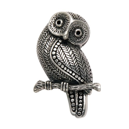 Silver Owl Pin - Wild Things Sterling Silver Owl Perched on Branch Pin