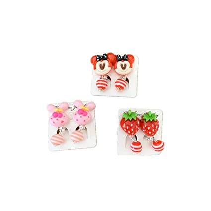 13131f23c Amazon.com: Yefashion 3pcs Hello Kitty Earring Girl Minnie Mouse Ear Clip  Jewelry Dres Up Princess Toy (3#): Toys & Games