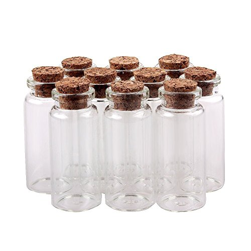 Wowlife Message Bottles Spice Storage Glass with Vials Cork 50mm 2' 10ml 25pcs