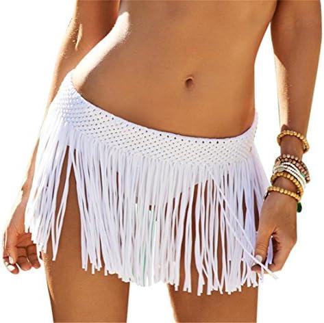 Hand crochet Color stripe skirt with Short fringe Women Beach Bikini Swim Skirt