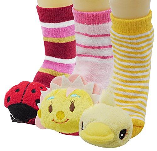 Toddler Babys Cute Animal Socks with Bell Inside Child Anti-Skid Floor Socks, (Toe Animal)