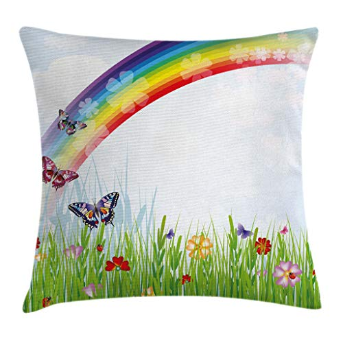 "Ambesonne Rainbow Throw Pillow Cushion Cover, Springtime Meadow Colorful Butterflies Grass Daisy Silhouettes Playroom Design, Decorative Square Accent Pillow Case, 16"" X 16"", Green Red"