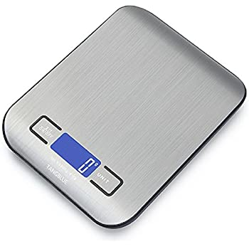 TANGBLUE Digital Kitchen Scale High Accuracy Multifunction Food Scale, 11 lb 5 kg, Tare & Auto Off (Batteries Included) (Silver)
