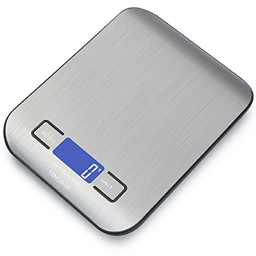 TANGBLUE Digital Kitchen Scale High Accuracy Multifunction Food Scale, 11 lb 5 kg, Tare & Auto Off (Batteries Included) (Silver) ()