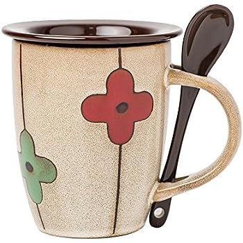 Verdental Retro Ceramic Drum Shaped Coffee Mug with Lid and Spoon Tea Cup Mug Gift Box (Brown)