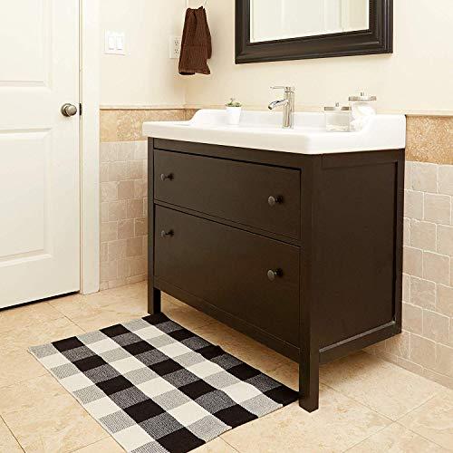 Buffalo Checkered Rug - Plaid Welcome Doormat - Outdoor/Indoor/Door/Floor/Kitchen/Rugs/Front Porch/Bathroom/Laundry Room/Bedroom - White/Black Outside Mat - House Flannel Doormats - 24inch x 36inch ()