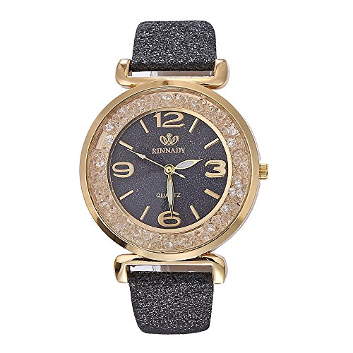 Women Quartz Watch,ODGear Ladies Bling Wrist Watch Crystal Bracelet (Black) (Style Watch Bling)