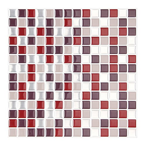 FARONZE Kitchen Mosaic Wall Tiles Peel Stick Self-Adhesive DIY Backsplash Stick-on Vinyl Wall Tiles Kitchen Bathroom 10\