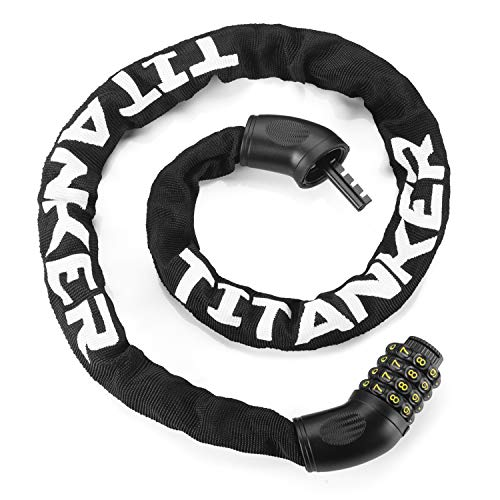 Titanker Bike Chain Lock, Security Anti-Theft Bike Lock Chain Combination Bicycle Chain Lock Bike Locks for Bike, Motorcycle, Bicycle, Door, Gate, Fence, Grill