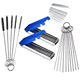 #10: CKANDAY 3 Set Carburetors Carbon Dirt Jet Remove Cleaner, 2 Pcs of 13 Cleaning Wires Set + 10 Cleaning Needles + 5 Nylon Brushes Tool Kit Compatible Motorcycle ATV UTV Moped Welder Carb -Blue/Silver