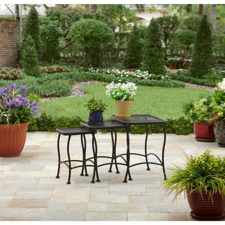 Gardens Seacliff Wrought Iron Dimensions Medium Black Nesting Table, Set of 3