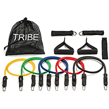Tribe 11pc Resistance Band Set - with Door Anchor, Handles, Ankle Straps - Stackable Up To 80lbs - For Resistance Training, Physical Therapy, Home Workouts