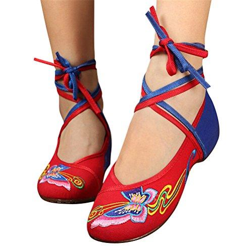SMITHROAD Damen/Mädchen Mary Jane Halbschuhe mit Stickmuster mit Bindeband Low Top Sandalen Schwarz Rot Grün Gr.34-41 Schmetterling02 Muster-Rot&Blau