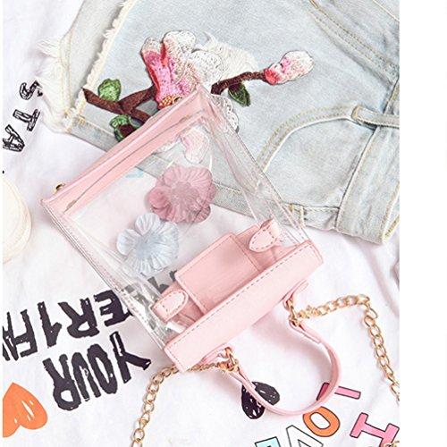 Vbiger Bolso de hombro claro floral de las muchachas Bolso de hombro elegante de la cadena del bolso Rosado