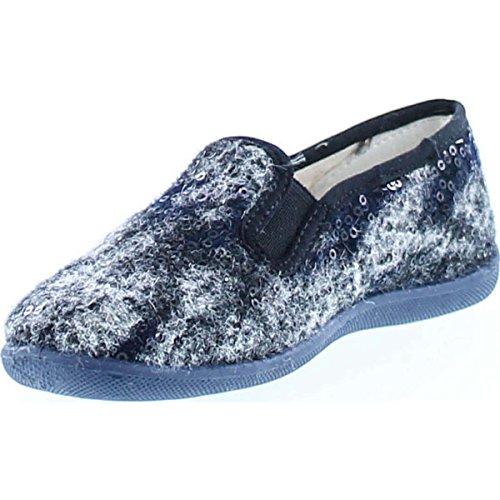 Naturino Girls 8074 Slip On Fashion Home Slippers Gray Fuzzy/Sequin