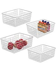Wire Storage Basket, iSPECLE 4 Pack Metal Wire Basket Fruit Basket Kitchen Pantry Organizer Large Storage Capacity Durable Pantry Baskets for Fruit, Vegetables Toiletries with 2 Size, White