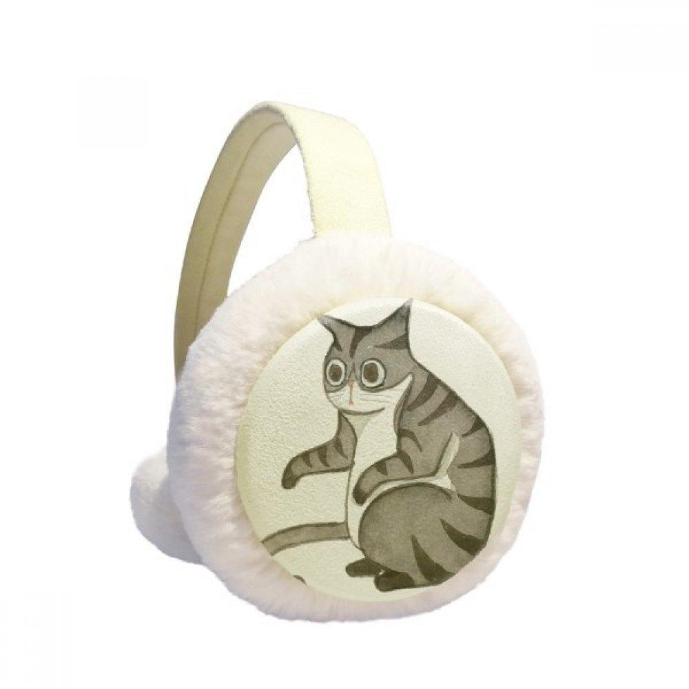 Miaoji Painting Dragon-Li Watercolor Cat Winter Earmuffs Ear Warmers Faux Fur Foldable Plush Outdoor Gift