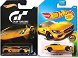 Hot Wheels Mercedes New Model 2017 Exotics #256 AMG GT 2-Pack Lamborghini Exclusive Gran Turismo Gallardo LP Speed Yellow Series in PROTECTIVE CASES