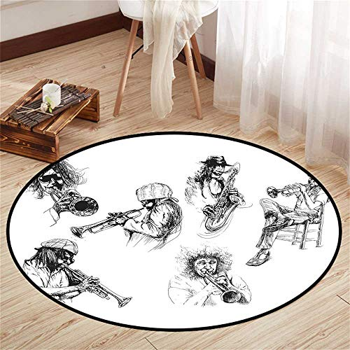 Circle Floor mat Under high Chair Round Indoor Floor mat Entrance Circle Floor mat for Office Chair Wood Floor Circle Floor mat Office Round mat for Living Room Pattern 3'11