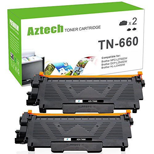 Aztech [2] High Yield Compatible for Brother TN660 TN-660 Toner Cartridge Brother MFC-L2700DW HL-L2380DW HL-L2320D HL-L2300D DCP-L2540DW DCP-L2520DW HL-L2340DW Cartridge Toner Laser Printer Black Ink