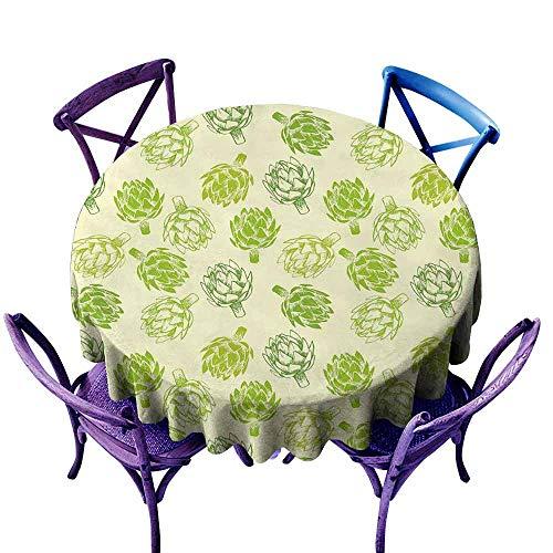 (ScottDecor Artichoke Jacquard Tablecloth Hand Drawn Fresh Vegetable Sketch Tasty Natural Food Organic Eats Artwork Print Wedding Round Tablecloth Lime Green Diameter 36