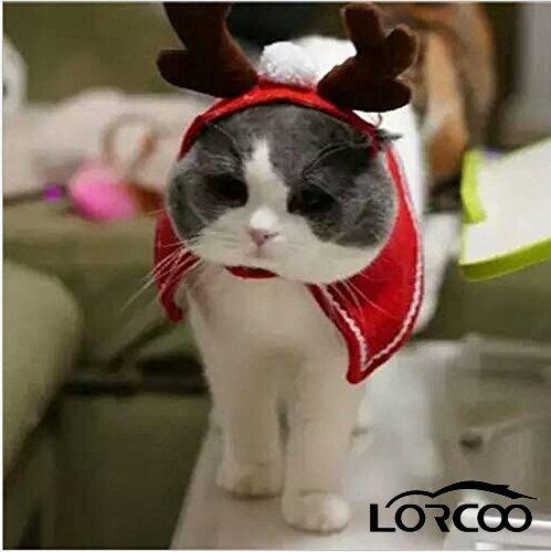 Lorcoo Weihnachts Hut Weihnachtskostüm, Haustier Katzen Hündchen Antlers Kappe Haustier Kleidung