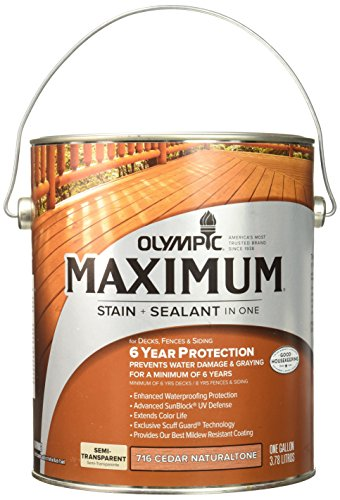 OLYMPIC/PPG ARCHITECTURAL FIN 79561A/01 Max Semi Stain, 1 Gallon, Cedar (Olympic Maximum Deck Fence And Siding Stain)
