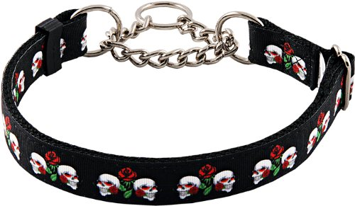 Country Brook Design Skull and Roses Half Check Grosgrain Ribbon Dog Collar - Medium