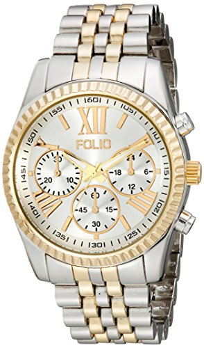 Folio Women's FMDFOL012 Analog Display Quartz Two Tone Watch - Folio Watch