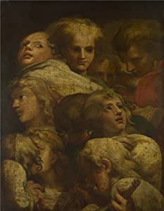polyster Canvas ,the Beautiful Art Decorative Prints on Canvas of oil painting 'After Correggio Group of Heads ', 18 x 23 inch / 46 x 59 cm is best for Home Office artwork and Home artwork and Gifts