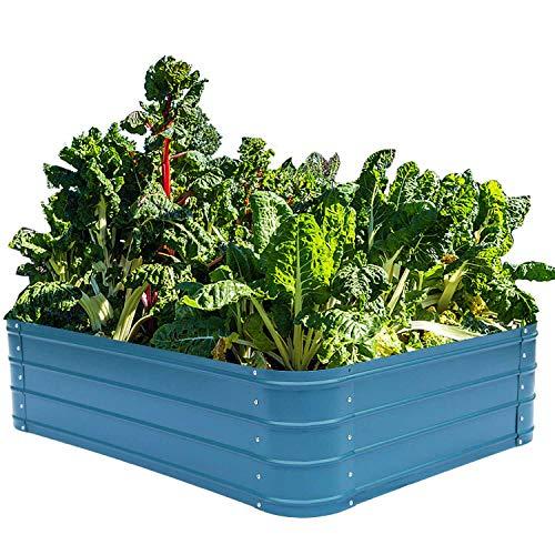 Metal Raised Garden Beds for Vegetables Outdoor Planter Box Galvanized Steel Gardening Flower Bed Kits 4x3x1 Ft (Blue)