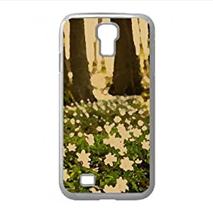 White Forest Flowers Watercolor style Cover Samsung Galaxy S4 I9500 Case (Spring Watercolor style Cover Samsung Galaxy S4 I9500 Case)