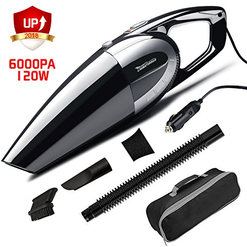 LQQBSTORAGE Car Vacuum Cleaner 12V 120W 6Kpa Car Vacuum Filter High Power Wet&Dry Multifunctional Portable Handheld Auto Vacuum Cleaner with Stainless Steel HEPA Filter 16.4FT Power Cord-Black