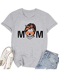 Mom Skull Print T-Shirt Cool Mama Leopard Letter Print Shirt Funny Skull Graphic Tshirt Mama Life Tee Top Blouse