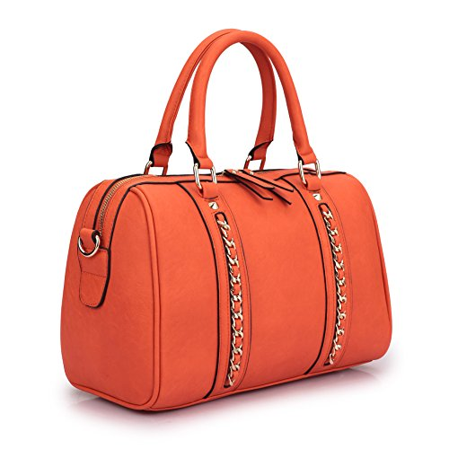 (Lady Barrel Designer Satchel Handbags Vegan Leather Structured Purses Shoulder Bags for Women with Shoulder Strap (6805 Orange Single Bag without wallet))