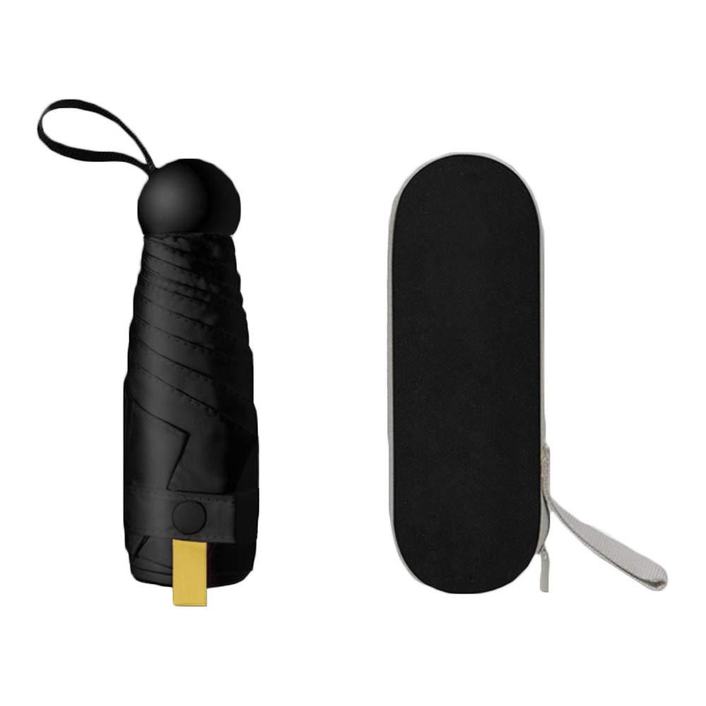 ZZM Sombrilla de c/ápsula para Monedero Protector Solar Anti-UV Mini sombrilla Ultraligera Plegable Ultraligero Sol y Lluvia Viaje de Doble Uso Paraguas peque/ño de Bolsillo con Estuche Impermeable