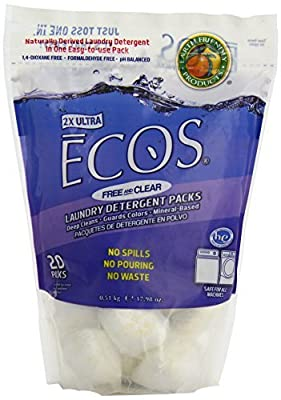 Earth Friendly Products ECOS Free and Clear Laundry Detergent Pods, 20 Loads, 17.98 Ounce by Earth Friendly Products