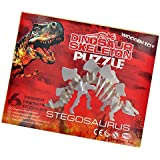 Dinosaur Skeleton 3D Puzzle Jigsaw Childrens Kids Wooden Wood Model Toy Build Assembly Game Gift Stegosaurus by zizzi
