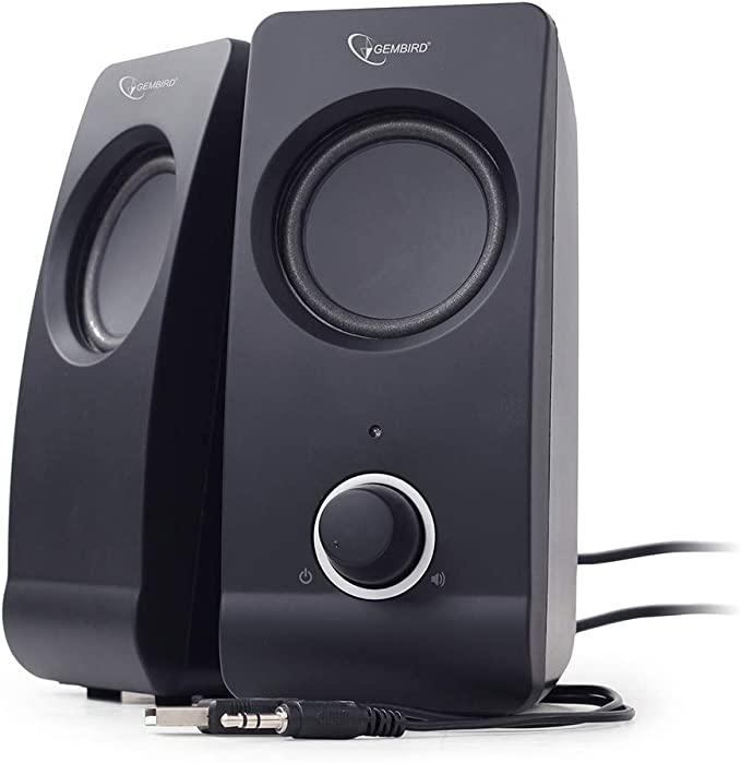 Gembird SPK-DU-01 6W Negro Conjunto de Altavoces - Set de Altavoces (6 W, PC/Ordenador portátil, Negro, 1,5 m, Giratorio, 1%)