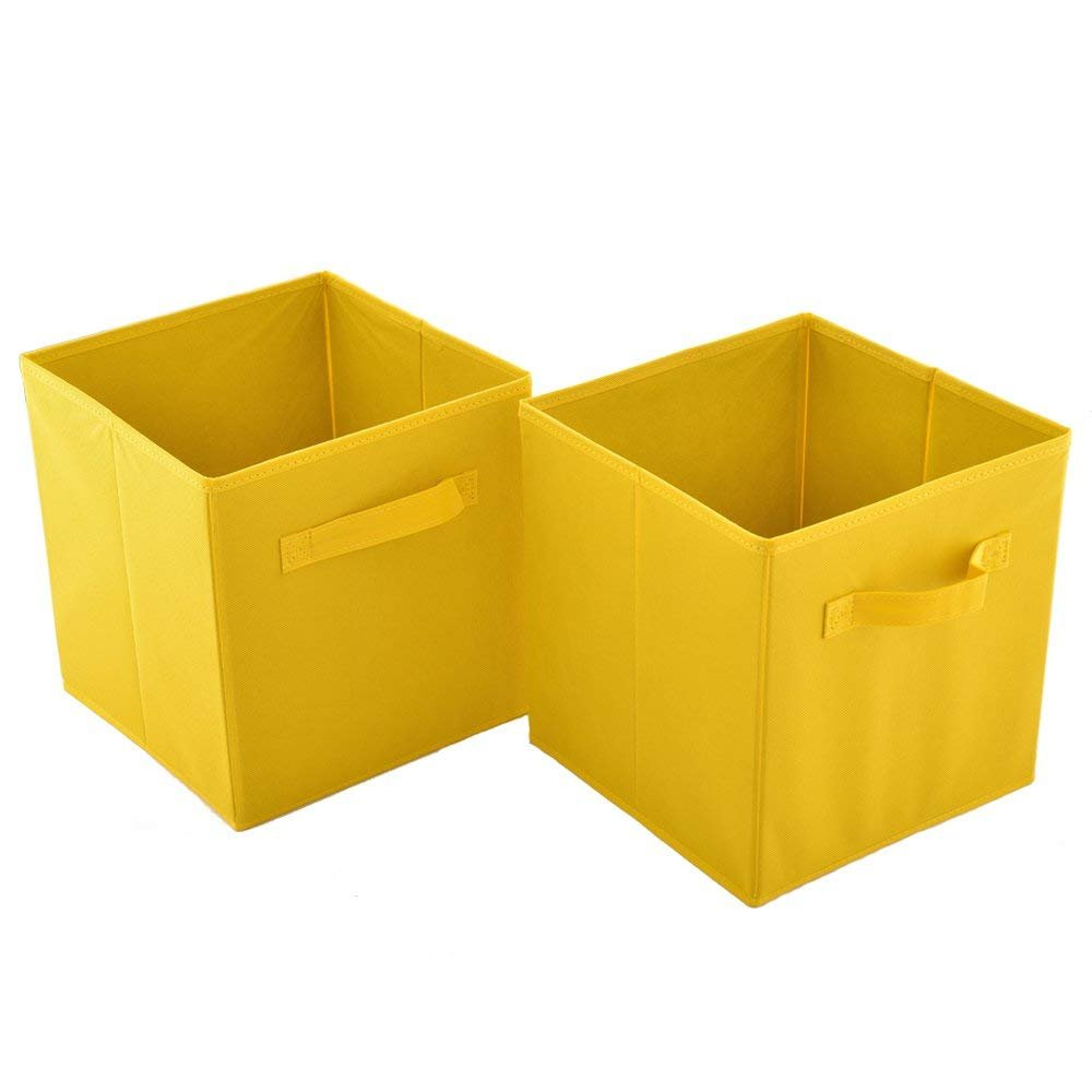 Wtape Practical Foldable Cube Storage Bins, 2-Pack Fabric Drawers, Yellow