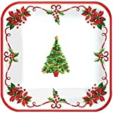 Traditonal Square Paper Plates For Festive Christmas | Party Tableware