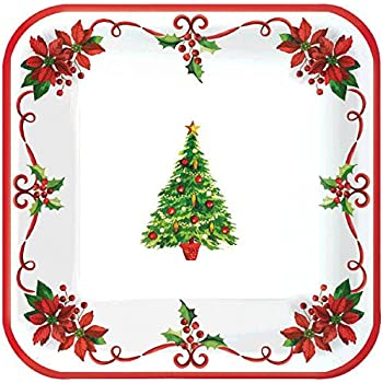 Amscan Traditional Christmas Square Paper Lunch Plates Disposable Party Tableware (40 Pieces) Red  sc 1 st  Amazon.com & Amazon.com: Sparkling Snowflake Round Metallic Dinner Paper Plates ...