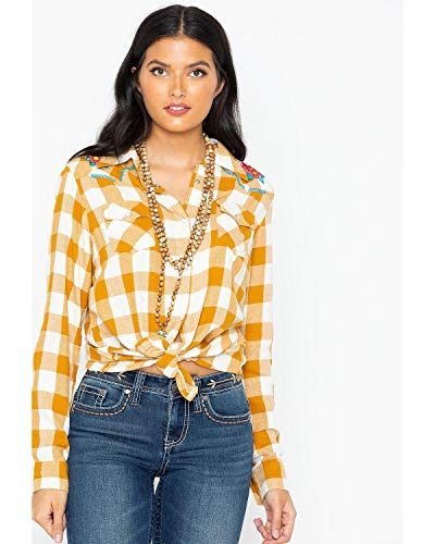 Wrangler Women's Retro Plaid Embroidered Long Sleeve Western Shirt Dark Yellow Small