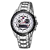 Round Dial Glass Watch Window Luminous & Alarm & Week Display Function Quartz + Digital Double Movement Men Watch With Alloy Band (Color : White)
